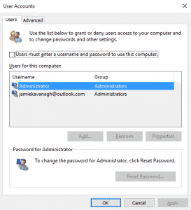 How to enable or disable password login in Windows 10